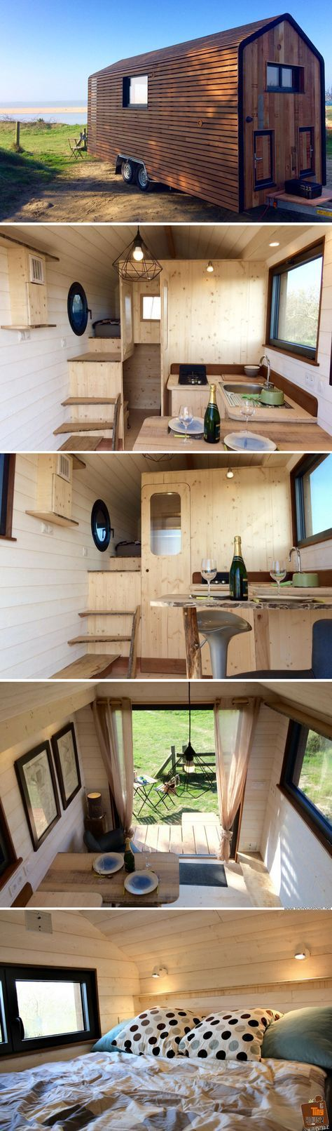 The Huttopie by La Tiny House Stars on left, allow for bathroom and storage underneath. Laundry shed attached but separate. Heated. Washer, eco dryer? Airers.