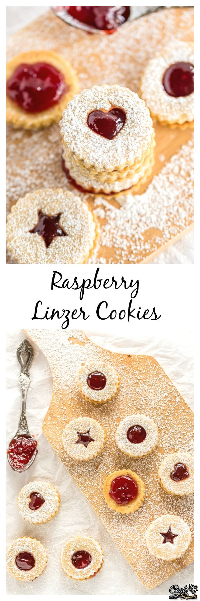 Lightly sweetened, filled with raspberry jam and dusted with powdered sugar, these Raspberry Linzer Cookies are a favorite! #cookies #holidays #baking #christmas