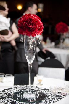 Wedding, Reception, Centerpiece, Red, Crystals, Red roses, Black and white damask
