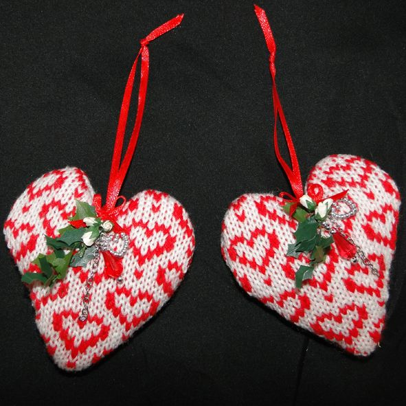 Lavender Filled Christmas Heart- Luxury Tree Decoration- Knitted Fair Isle Hearts, Paradis Terrestre - Luxury British Made Accessories & Homeware