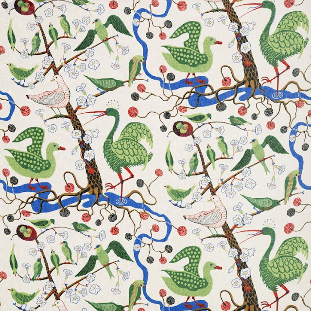 Josef Frank - Green Birds fabric is also clean and bright
