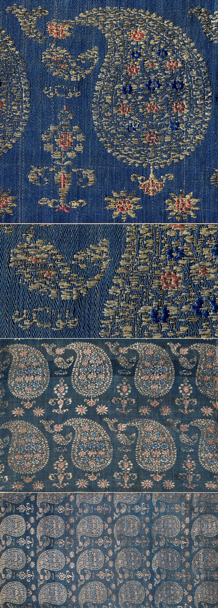 BOTEH! Silk Brocade with Silver Thread. Safavi Dynasty, Circa 1700 Size 26'' x 12''; 65 x 30cm. Notice how they are all arranged in neat rows and all face the same way, quite unlike modern paisley.