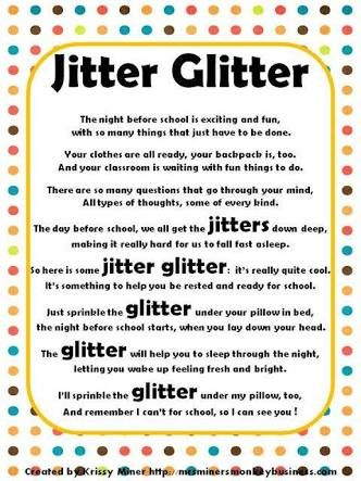 Image result for jitter glitter poem printable