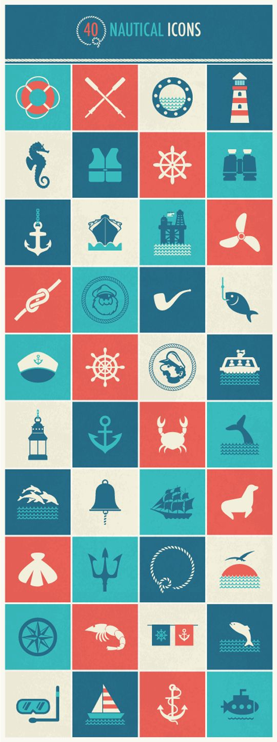 Free Download : 40 Free Nautical Icons. Thanks Danielle! I love the symbolism of a lot of these! Ie: knots, lifesavers, anchors, helms, and lighthouse