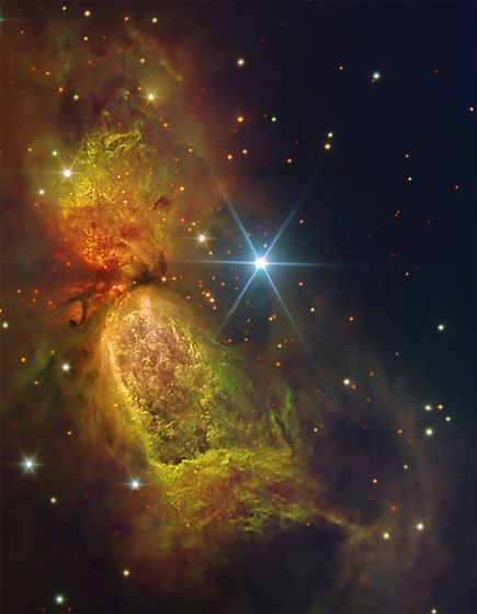 The hourglass-shaped nebula Sharpless 2-106 glows in a picture by NASA and taken by the Gran Telescopio