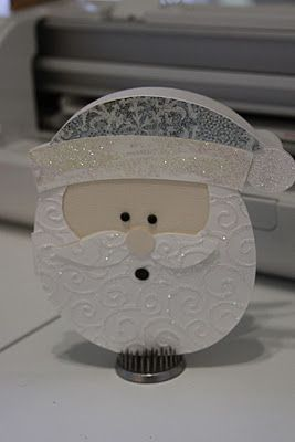 "Doodlecharms cart. Santa cut at 6"". beard and mustache embossed with swirls folder"