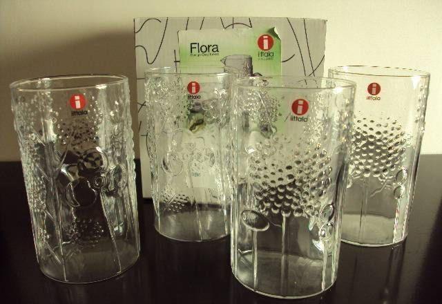Iittala Oiva Toikka Vintage Flora Glasses Clear 4 Finland | eBay