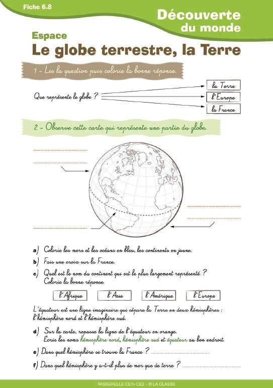 Un document simple destiné aux élèves de CE1 - CE2 pour aborder le travail sur le globe et la Terre