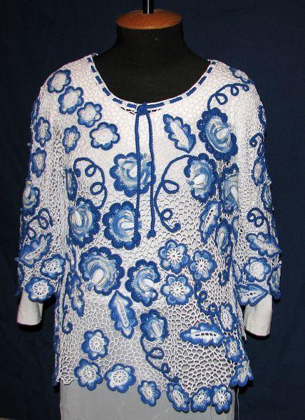 Пуловер «Гжельские мотивы» | Трикотажная симфония