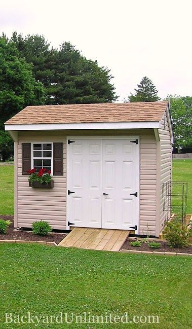 6x10 quaker storage shed with vinyl siding flower box gable vent