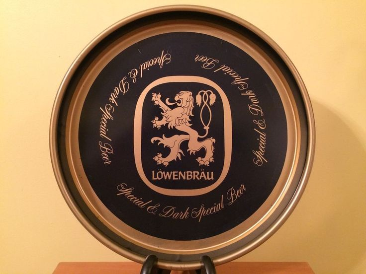 """LOWENBRAU BEER TRAY Special and Dark Special Beer 13"""" Beautiful Bar Collectible"""