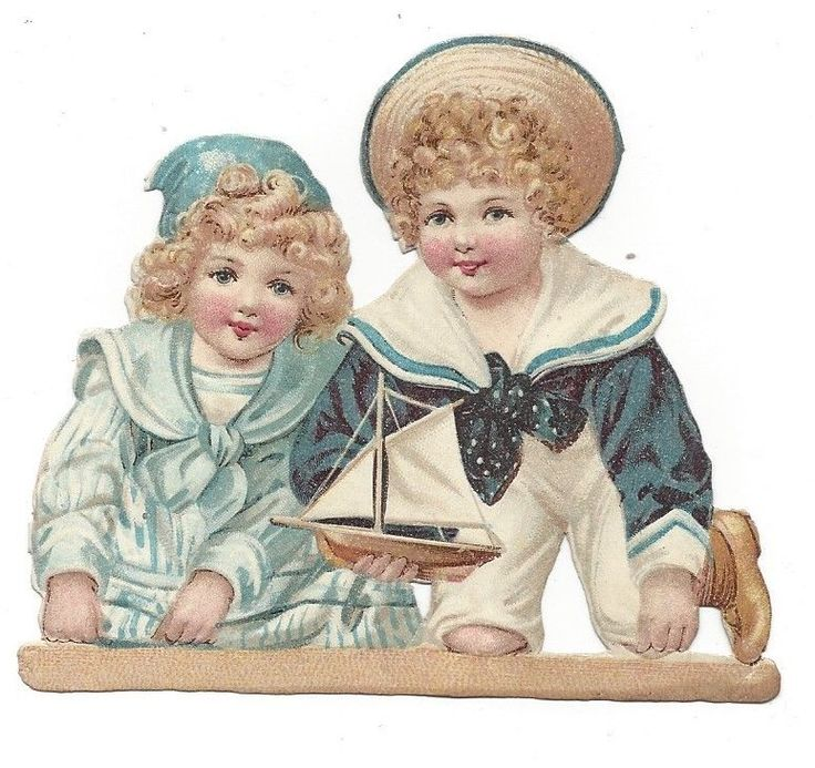 Victorian Die Cut Scrap Sailor Boy and Girl with Toy Boat picclick.com
