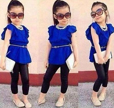 2PCS Fashion Baby Girl Short Sleeve T-shirt +Pants Set Clothes Kids Outfits 2-8T