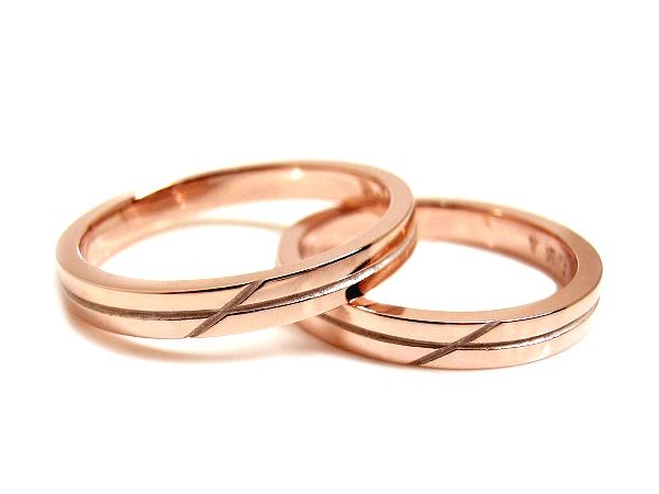 AMBRACE K18 pink gold ring stylish flat cross line 2.8mm ピンクゴールド ペアリング スタイリッシュ フラット クロス ライン
