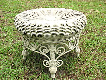 Antique Victorian Wicker Footstool