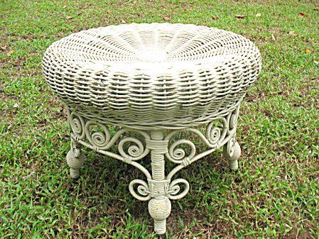 Antique Victorian Wicker Footstool