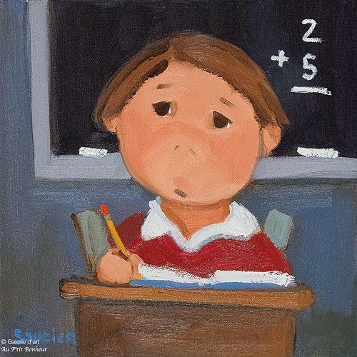 Guylène Saucier, 'Classe de math', 10'' x 10'' | Galerie d'art - Au P'tit Bonheur - Art Gallery