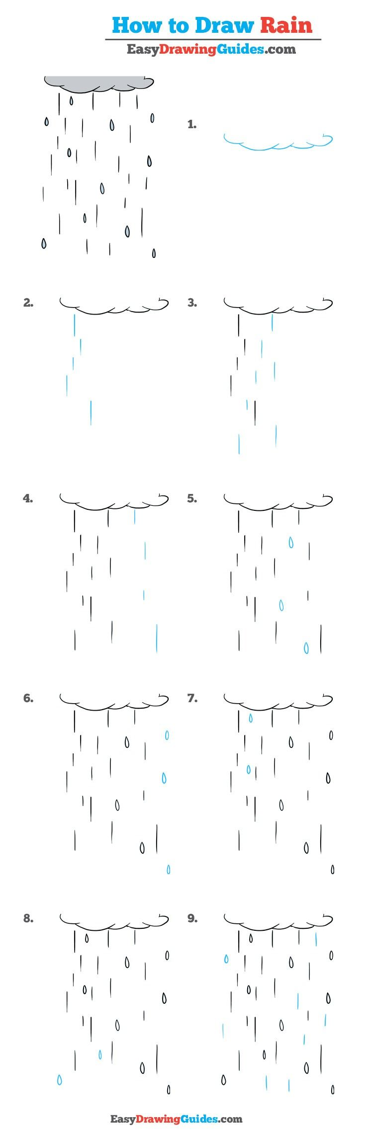Learn How to Draw Rain: Easy Step-by-Step Drawing Tutorial for Kids and Beginners. #Rain #drawingtutorial #easydrawing See the full tutorial at https://easydrawingguides.com/how-to-draw-rain-really-easy-drawing-tutorial/.
