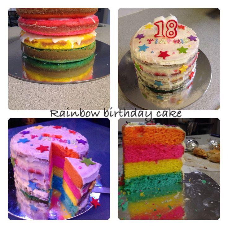 18th birthday rainbow cake