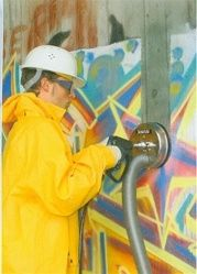 """Surface Cleaner """"Graffiti"""" with Air Recovery System.    The basic professional wall and surface cleaner FL-ABB 200 is used for: Graffiti removal, restoration of various surfaces, building cleaning, etc.    The wall surface cleaner with air vacuuming, is the perfect tool, to clean any kind of hard to remove dirt, paint, etc.  No over spray or flying debris, guarantees a safe and clean work area. From ETS Company http://www.shopetsonline.com/product-p/mowa-78.235.htm"""