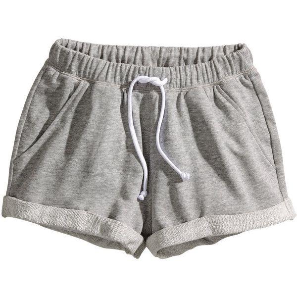 H&M Sweatshirt shorts ($5.79) ❤ liked on Polyvore featuring shorts, bottoms, pants, pajamas, grey, grey shorts, h&m shorts and gray shorts