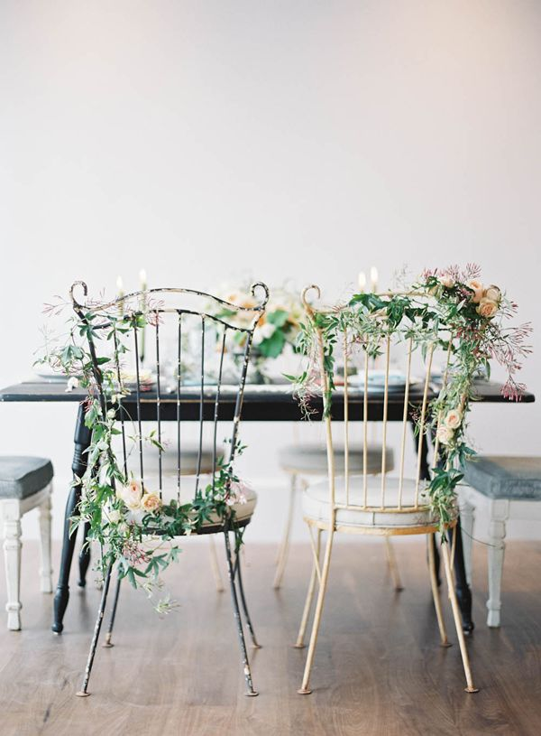 inspiration | chair garlands | repin via: chic vintage brides