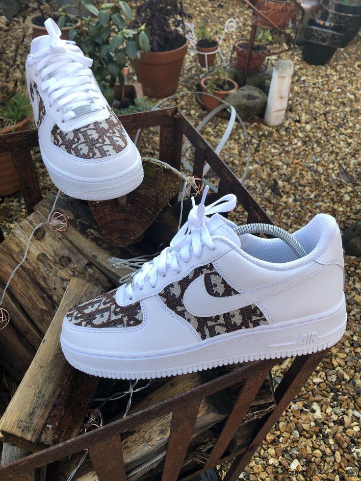 Brown Dior Nike Air Force 1 - White | @giftryapp | Custom nike ...