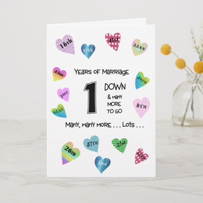 Happy Hearts 1st Anniversary Card Zazzle Com 1st Anniversary Cards Funny Anniversary Cards Anniversary Cards