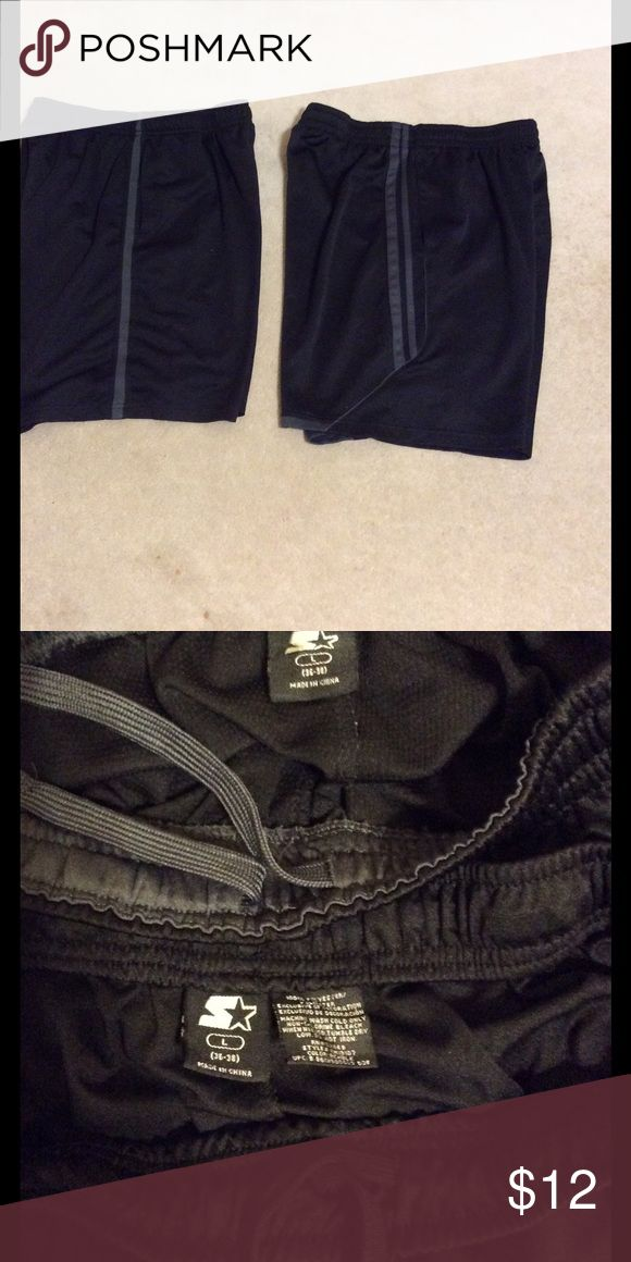 Bundle of 2 pair men's workout shorts - NWOT In perfect condition, both of these shorts are black with gray side stripes, have elastic & drawstring waistband & 2 side pockets. Size men's large or 36-38 inch waist. Starter Shorts Athletic