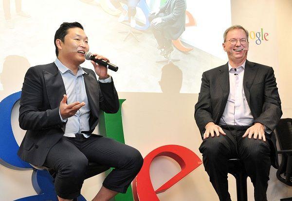 Psy teaches GOOGLE chairman Eric Schmidt the 'horse dance'