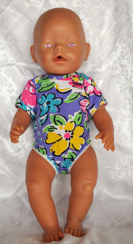 """Doll Clothes for 17"""" Baby Born Doll ~ Onsies Bodysuit Mauve floral ~ Accessories"""