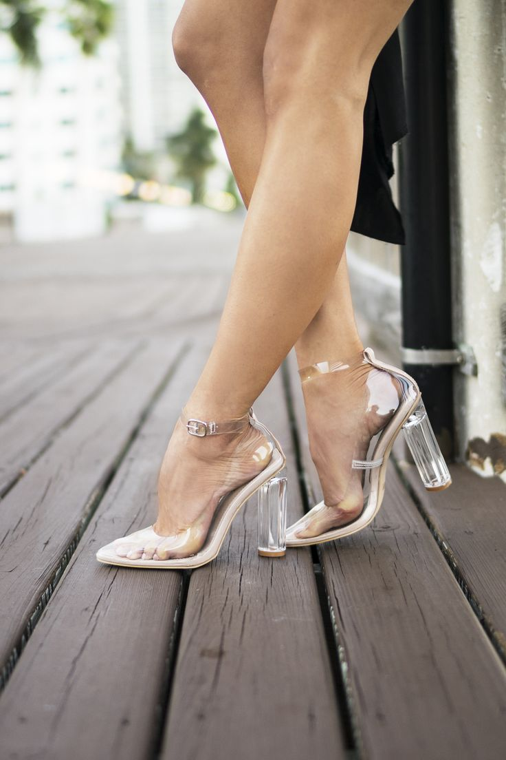 EDITOR'S NOTES & DETAILS Let's be crystal clear! These Clear Pointy Toe Single Sole High Heels feature a comfy nude sole, clear ankle straps, and silver detailing. Sure to match with everything! - Cle