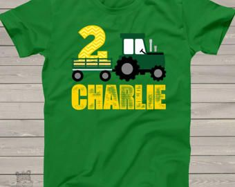 Tractor birthday shirt  green yellow chevron by zoeysattic on Etsy