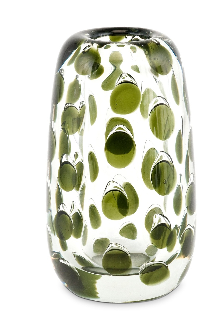 Saara Hopea (1925-1984): Vase, Panther Green and clear glass, 20cmH. Signed S Hopea, Nuutajärvi. Notsjö 55.