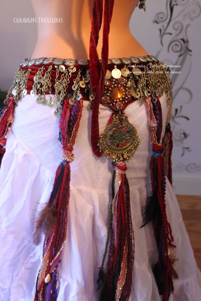 Red Fringe-Tassel Belt Gypsy Tribal Fusion Belly Dance ATS   Handmade