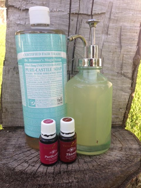 Non-Toxic Liquid Dish Soap! 1/3 Pure Castile Soap (Unscented Baby-Mild) 2/3 Filtered Water 5-10 drops Young Living Purification Essential Oil 5-10 drops Young Living Thieves Essential Oil Pour all ingredients into a glass container and shake it up. Use 1 squirt at a time! Get your Young Living Essential Oils here! http://www.ylwebsite.com/thewiseoilandhealthnut follow me on Facebook https://www.facebook.com/thewiseoilandhealthnut