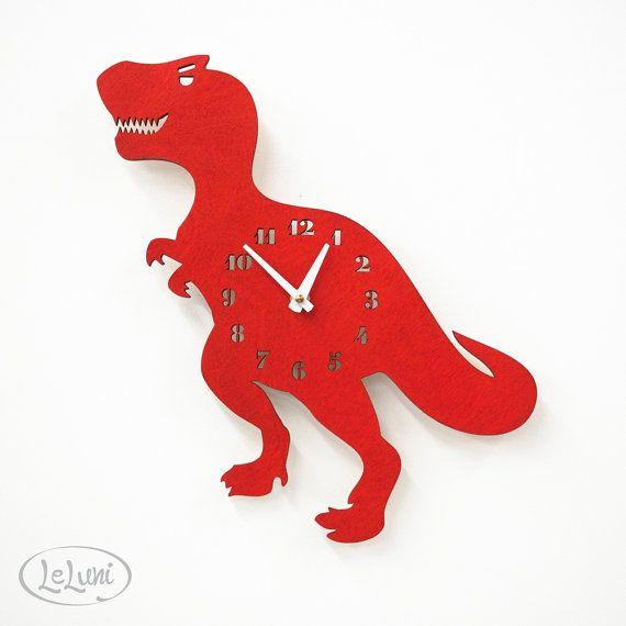 "La ""T-Raaawwwr-Rex"" una pared de diseño montado reloj de LeLuni"
