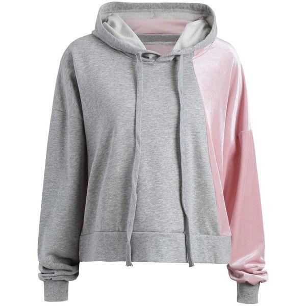 Color Block Plus Size Velvet Hoodie (€19) ❤ liked on Polyvore featuring tops, hoodies, sweatshirt hoodies, plus size hooded sweatshirt, velvet top, plus size sweatshirts hoodies and color block hoodies