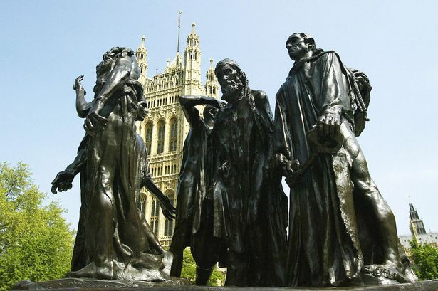 Rodin's Burghers of Calais - Edward III having conquered Calais, offered to spare the people if any six of the French port's top leaders would surrender themselves to him almost naked, with nooses around their necks, and carrying the keys to the city and castle.
