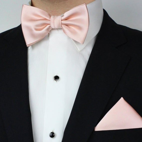 Peach Tuxedo Shirt and Bow-Tie Set