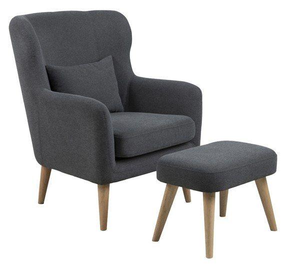 Mons+Lænestol+og+fodskammel+-+Traditionel+lænestol+med+tilhørende+fodskammel.+Stolen+er+betukket+med+antracit+grå+stof.+