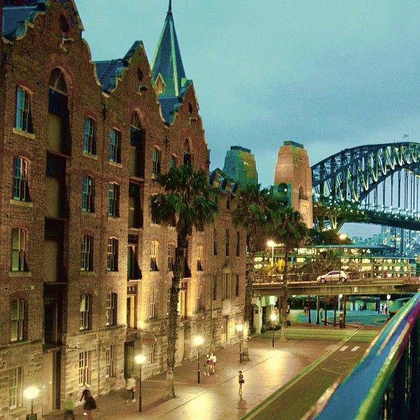 The Rocks at dusk in Sydney, Australia, the oldest parts of the Beautiful City! http://www.travelmagma.com/australia/things-to-do-in-sydney/