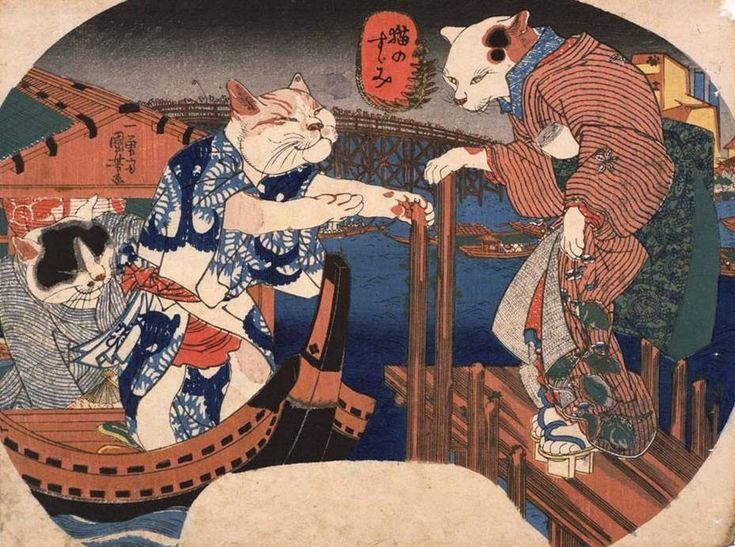 Cats cool off (Neko no suzumi) / Utagawa Kuniyoshi (Japanese Ukiyo-e Printmaker, ca.1797-1861)