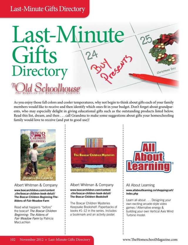 64 best directories images on pinterest homeschool last minute gifts directory the old schoolhouse magazine november 2012 page 102 fandeluxe Image collections