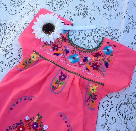 Size 6 to 7 Mexican girl dress embroidered dress fiesta baby