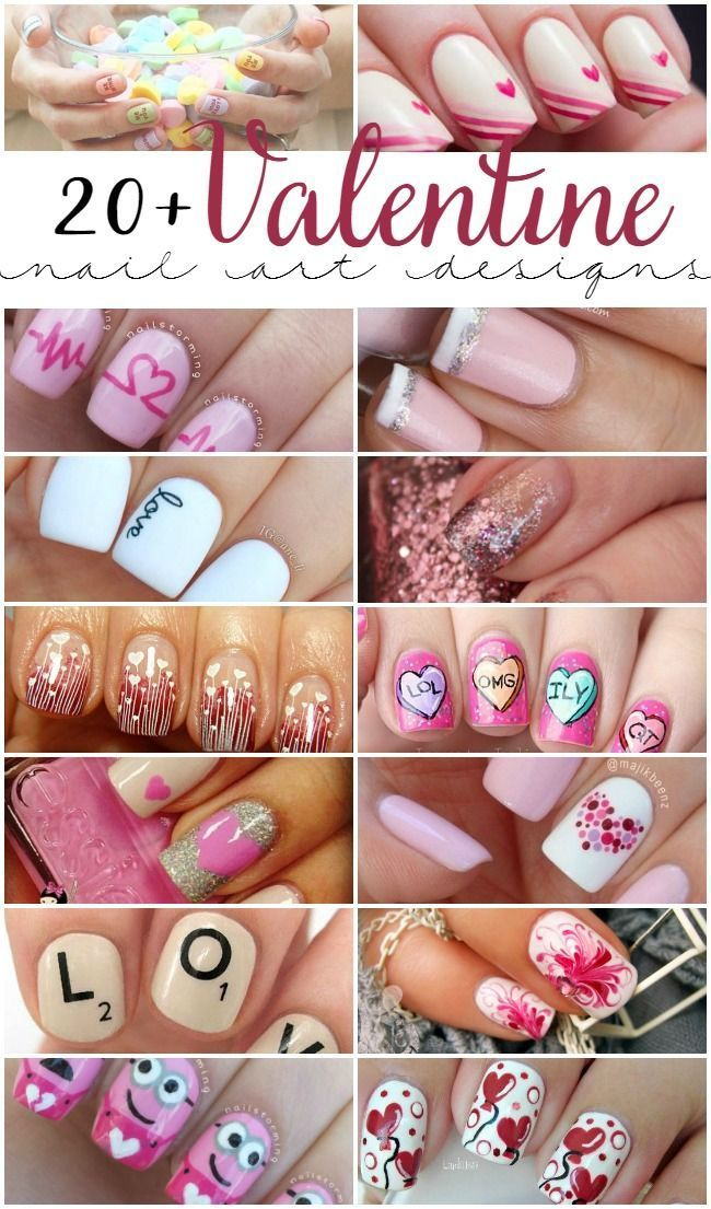 20+ of the cutest Valentine nail art designs!  These are certain to put you in the mood for love. :)