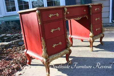 Going For Baroque - A Gorgeous Desk Makeover By Southside Furniture Revival Using Annie Sloan Emperor's Silk Chalk Paint And Modern Masters ...