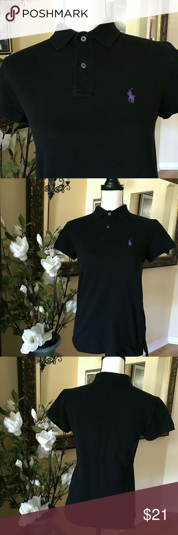 Ralph Lauren Classic Fit Polo Shirt Sz S This is a classic fit polo shirt with embroidered purple pony. It has a straight silhouette. Ribbed Polo collar. Two-button placket.Short sleeves with ribbed armbands. Signature embroidered purple pony accents the left chest. Material 100% cotton. Machine washable. Imported. Ralph Lauren Tops