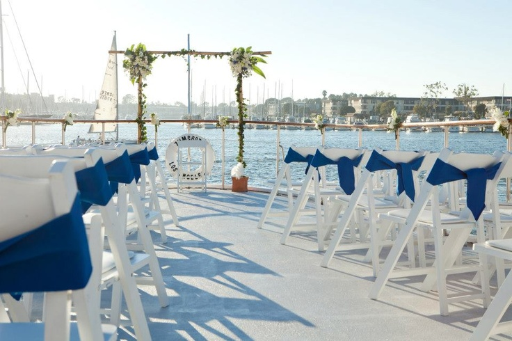 Outdoor Wedding On The Deck Of A Yacht Hornblower Cruises Amp Events Marina Del Rey CA
