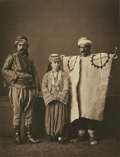 Traditional clothing 1873 photogravure. (1) Bachi Bozouk (mercenary soldier) of Ankara; (2) Muslim peasant of Ankara; (3) Muslim peasant woman of Ankara from the province of Ankara by7 Pascal Sabah 19th century Ottoman Empire